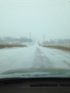 The gravel road leading to the college did get a little snowy. At least it kept the dust in place!