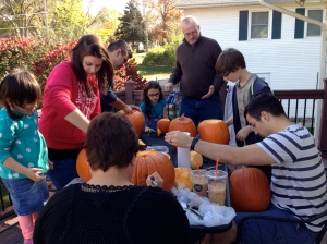 And then we had a pumpkin carving party on our back porch.
