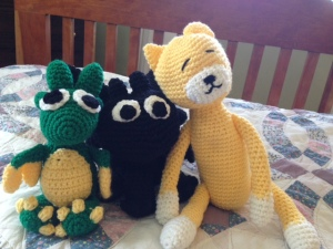 Crochetin' it up! Sweet stuffed animals I made my kids for Valentine's Day.