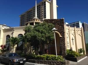 A big, fancy church in Honolulu.