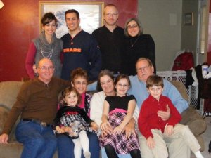 This is a rare picture of my sister and her husband, my parents, Andrew's parents, and us all together. It was 2009, I think.