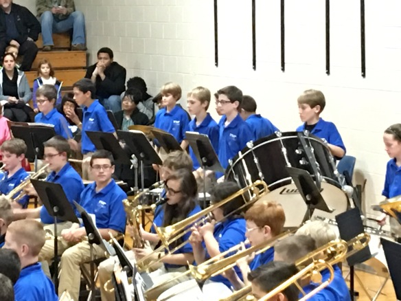 It's the requisite holiday concert band picture. I barely recognize my own boy in that sea of blue and khaki!